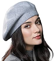 ENJOYFUR French Style Beret Hats,Wool Knit Solid Color Womens Berets,Lightweight Casual Soft Classic Beret Hat