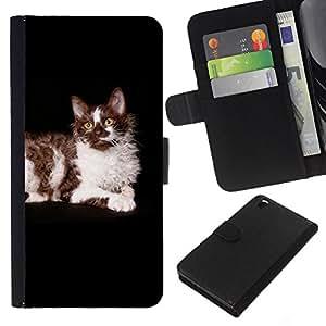 EJOY---La carpeta del tirón la caja de cuero de alta calidad de la PU Caso protector / HTC DESIRE 816 / --Ragdoll americana de pelo largo Curl Gato Negro