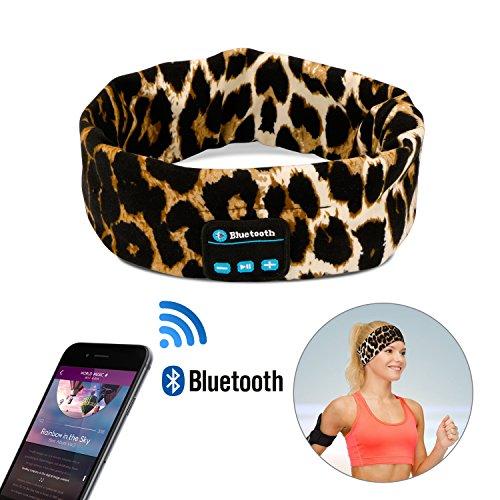 WU-MINGLU Wireless Bluetooth Headband, Wireless Sports Headband Sleep Headphones Headset Running Headphones with Mic Built-in Stereo Speakers Yoga Bluetooth Headband, Leopard 2 (Leopard 1)