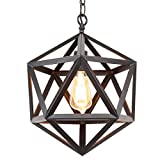 "Kira Home Trenton 16"" Industrial Wrought Iron Metal Chandelier, Adjustable Chain, Black Finish"