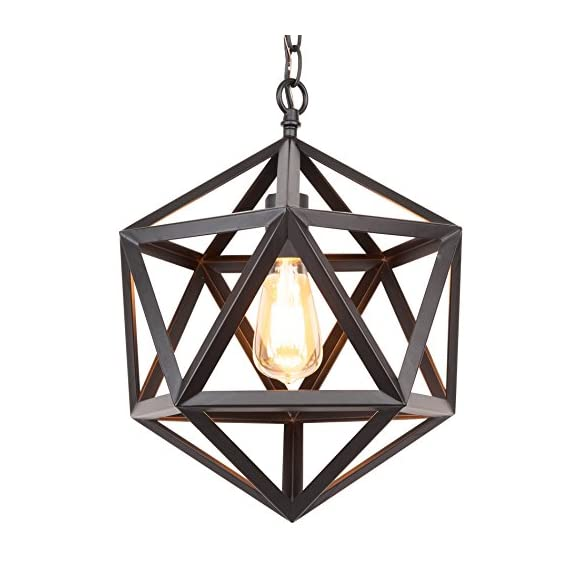 "Kira Home Trenton 12.5"" Modern Industrial Wrought Iron Metal Geometric Pendant Chandelier, Adjustable Chain, Black Finish - INDUSTRIAL STYLE: Metal chandelier features a geometric shade surrounding the bulb. This wrought iron fixture has a black finish and 6 feet of adjustable chain to suit your desired hanging lengths BRIGHTEN YOUR HOME: Hang this easy-to-install, prismatic ceiling light in pairs above a kitchen island, over a dining room or kitchen table, or in areas with high/vaulted ceilings such as an entryway or foyer. Dimmer and sloped ceiling compatible UL LISTED FOR YOUR SAFETY: UL listed for dry locations. Uses (1) LED, CFL or up to 60W traditional incandescent medium base bulb. Bulbs sold separately - kitchen-dining-room-decor, kitchen-dining-room, chandeliers-lighting - 51LJJ2n98DL. SS570  -"