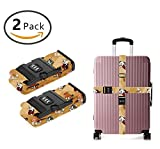 YEAHSPACE 2PC Set Fancy English Bulldogs Luggage Straps TSA Approved Lock Suitcase Belts Travel Tags Accessories