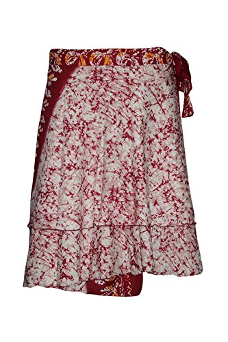 Women's Magic Wraps Skirt Red Premium Silk Sari Printed Reversible Short Skirts … (Skirt Short Dress Silk)