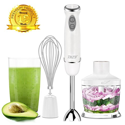 Cheap Hand Blender 4 in 1 Immersion Blender 600W Powerful 6 Speed Control Stainless Steel Stick Blender, Baby Food Chopper With Beaker 600ml, 500ml Food Chopper, Egg Whisk White