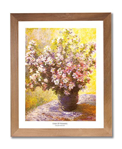 - Claude Monet Vase And Flowers Wall Picture Honey Framed Art Print