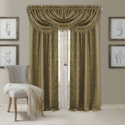 Elrene Home Fashions 20863ELR Antonia Blackout Rod Pocket/Back Tab Window Curtain Panel,Antique Gold,Valance