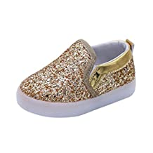 Susenstone Bright Light Colorful Luminous Shoes LED Flash Children Board Shoes for Little Girl Boy 1-6 years Old Gold (22)