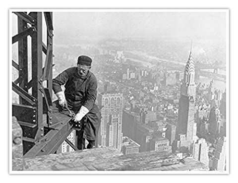 Empire State Building Construction Poster New York City Historic Photograph 1930 Handmade Giclée Gallery Print 18x24 Inches - Empire State Building Photographs