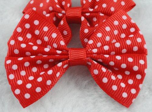 - 40 Pcs Mini Grosgrain Ribbon Dots Bow Flowers Wedding Decoration Appliques-u Pick (Red)