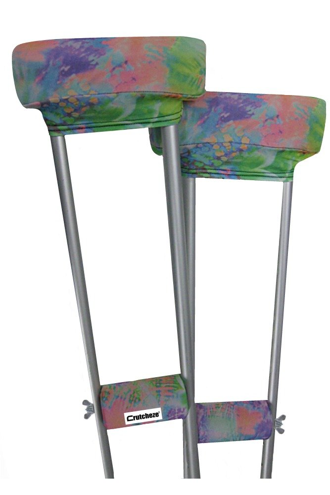 Crutcheze Designer Tie Dye Floral Crutch Covers, Pads, Hand Grips, Made in USA with Comfortable Padding, Fashion Orthopedic Accessories for Underarm Crutches