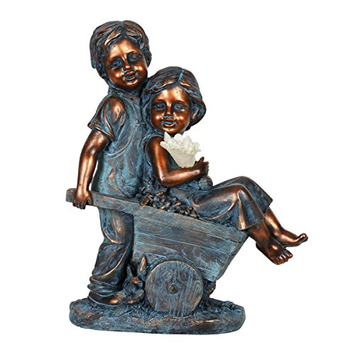 Exhart Boy & Girl Statue of Children – Bronze Kids in Wheelbarrow (Faux Bronze Statue) w/Solar Garden Light, (10in L x 5in W x 13in H) Hand-Painted Childrens Décor - Resin Statue Art Decor