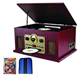 Sylvania Nostalgia 5-in-1 Turntable with CD/Cassette/Radio & Aux Function (SRCD838) - Essentials Bundle Includes, Trisonic Lens Cleaning Kit & CD/DVD Wallet