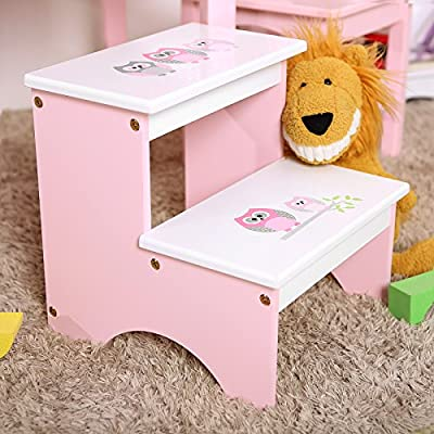 SONGMICS Toddler 2 Step Stool for Kid Wood Owl Theme in Bathroom Closet Kitchen Toilet Pink and White ULKF02PK