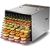 CO-Z Commercial Grade Stainless Steel Electric Food Dehydrator Machine, Meat or Beef Jerky Maker, Fruit Dryer with 10 Trays, Features Preset Temperature Setting & Timer Control,1000W