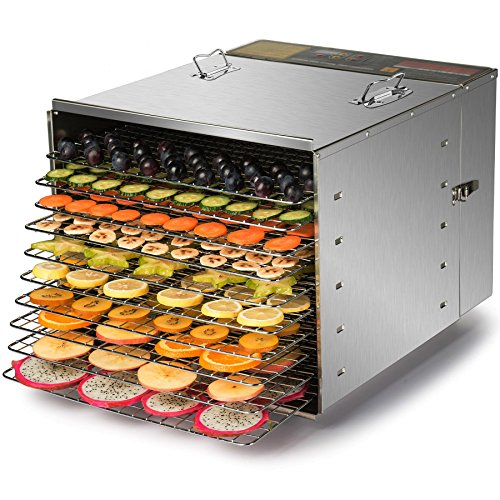 CO-Z Commercial Grade Stainless Steel Electric Food Dehydrator Machine, Meat or Beef Jerky Maker, Fruit Dryer with 10 Trays, Features Preset Temperature Setting & Timer (Stainless Steel Jerky)