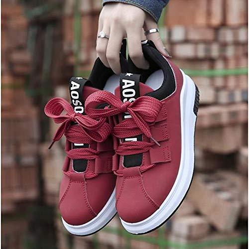 ZHZNVX Zapatos de Mujer PU (Poliuretano) Fall Comfort Sneakers Flat Heel Round Toe Rojo/Verde / Rosa Red