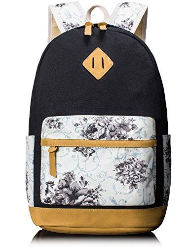 HIKKER LINK Floral Canvas Backpack Rucksack