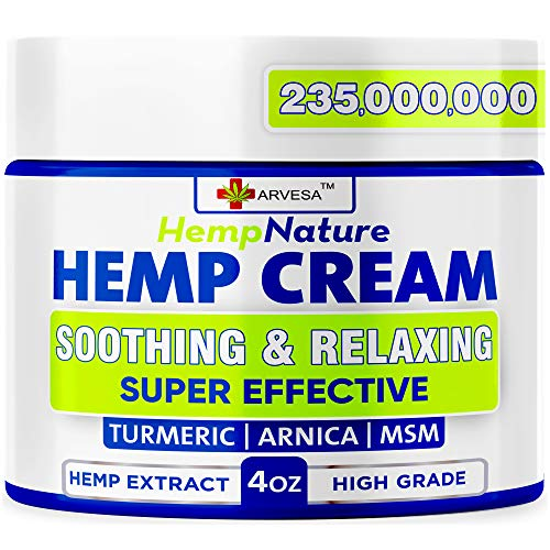 Natural Hemp Cream for Muscles, Joints, Foot, Back with Hemp, Arnica, Turmeric – Natural Hemp Oil Extract Gel – Made in…