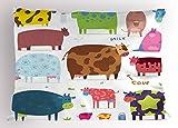 Cartoon Pillow Sham by Lunarable, Cartoon Design Cute Cows Colorful Barnyard Animals Bucket Farm Theme, Decorative Standard Size Printed Pillowcase, 26 X 20 Inches, White Brown Pink Blue