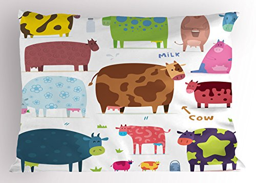 Cartoon Pillow Sham by Lunarable, Cartoon Design Cute Cows Colorful Barnyard Animals Bucket Farm Theme, Decorative Standard Size Printed Pillowcase, 26 X 20 Inches, White Brown Pink Blue