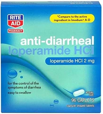 Rite Aid Anti-Diarrheal Caplets - 96 Count - 2 mg Loperamide Hydrochloride - Easy-to-Swallow Anti-Diarrhea Pills - Diarrhea Medicine - Diarrhea and Stomach Relief - Control Symptoms of Diarrhea