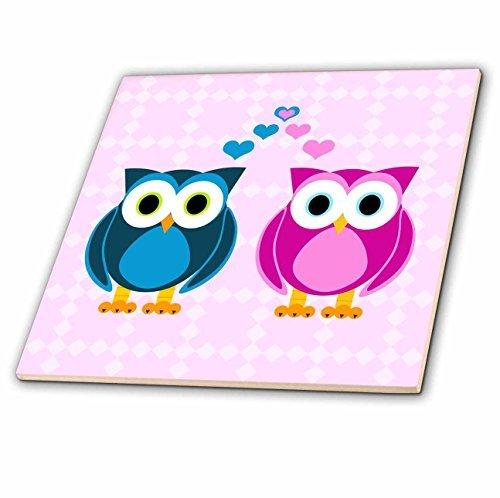 3dRose ct_6154_2 True Love Owls Design Ceramic Tile, 6-Inch ()