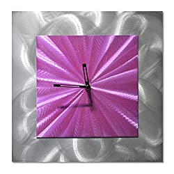 Square Clock Wall Decor - Purple Functioning Clock is The Perfect Outdoor Decoration - Abstract Modern Art of 12 x 12