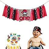 Pirate First Birthday Decorations, Pirate One Highchair Banner, Pirate Scarf with Pirate Cake Topper for Baby Girl Boy 1st Birthday Party Decorations