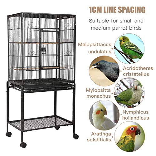 SUNCOO Large Bird Cage for Parrot Budgie Parakeet Cockatoo Cocatiel Iron Bird Aviary with Stand Pet Supply Black (Detachable-53'' H) from SUNCOO