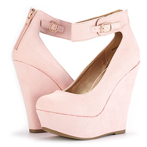 DREAM PAIRS Women's Height-Ankle Pink Suede Elegant Ankle Strap Rear Zipper Closure Wedge Heel Platform Pumps Shoes Size 8 B(M) US