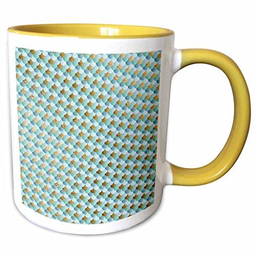 3dRose Anne Marie Baugh - Patterns - Light Blue and Faux Gold Mermaid Scallops - 15oz Two-Tone Yellow Mug (mug_283234_13)