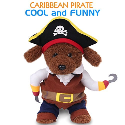 Pawaboo Pet Costume, Funny Pet Dog Cat Clothes Pirate Costume Outfit Jumpsuit Clothes with Skull Hat of the Carbbean Style for Halloween Christmas, Medium Size, Coffee