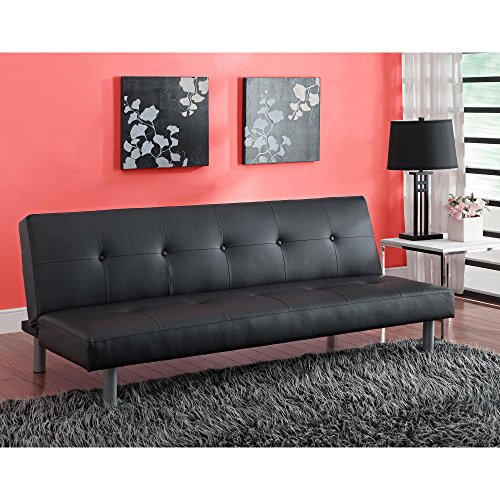 Round Twin Leg (Tufted Faux Leather Futon with Polished Look, Living Room Furniture, Black Faux Leather Upholstery, Round Silver Metal Legs, Button Tufted Sofa, Bundle with Expert Guide for Better Life)