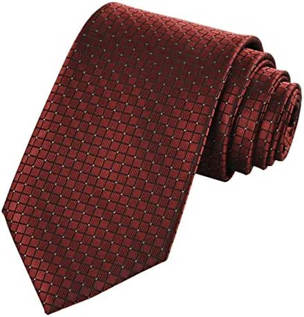 New Dark Red Burgundy Checked Men's Tie Necie Wedding Party Holiday Gift