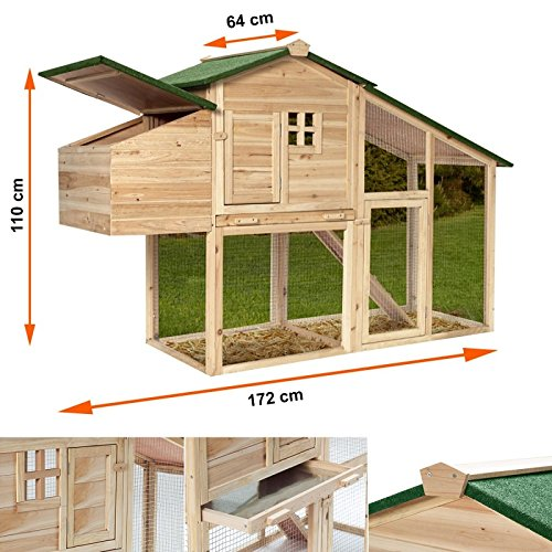 IDMarket – Gallinero con ponedero y caseta de madera: Amazon.es: Productos para mascotas