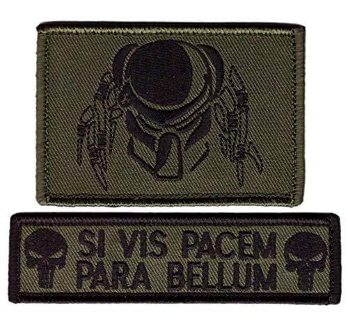 Titan One Europe Tactical Predator Raubtier Camo Green Punisher Skull SI Vis Pacem para Bellum Drab Set 2 Patches Klettband Taktisch Aufn/äher