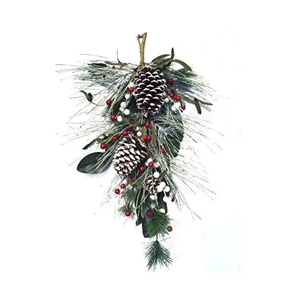 Frosted Winter Swag with Faux Winter Pine Greens Frosted Pine Cones Mixed White and Red Berries 24 Inch Length Christmas Wreath for Front Door Decorative Accessory Holiday Home Decoration