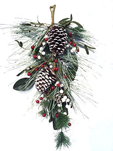 Christmas Door Swag - Frosted Winter Swag with Faux Winter Pine Greens Frosted Pine Cones Mixed White and Red Berries 24 Inch Length Christmas Wreath for Front Door Decorative Accessory Holiday Home Decoration