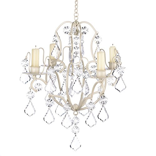 Gifts & Decor Ivory Baroque Candle Chandelier, Iron and Acrylic - Chandelier Holder