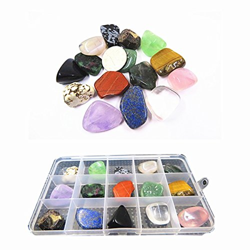 (YIEASDA 15-Stone Mixed Crystals Kit, Healing Chakra Nature Rocks Stones for Reiki Meditation Rituals Spiritual Metaphysical Home Decor Teaching)