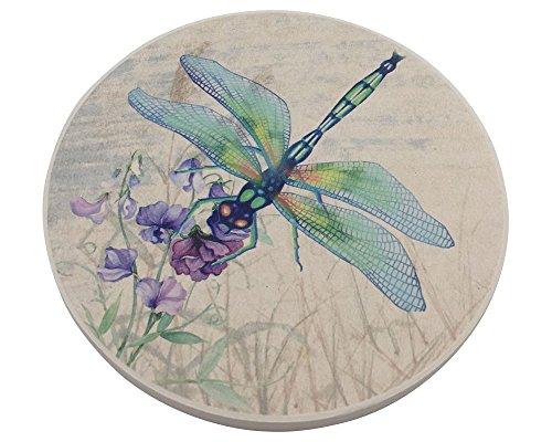Trinsi Absorbent Ceramic Stone Coasters, Dragonfly,Set of 4 Stone Coasters ()