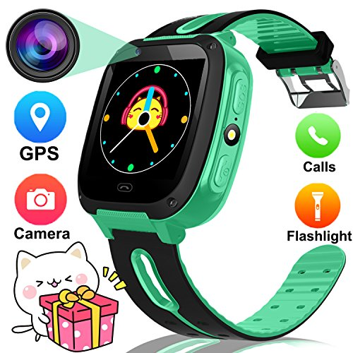 1.54'' Smart Watch For Kids,GPS Tracker Phone Watch with SIM Slot Game Camera Flashlight SOS for Parents APP iPhone Android Smartphone for Children Boys Girls Sport Camping Birthday Holiday Gift Green