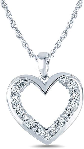 c0fdfa9eb Amazon.com: 1/20 Ct Sterling Silver Miracle Plate Diamond Double Heart  Pendant Necklace (IJ, I2-I3)18