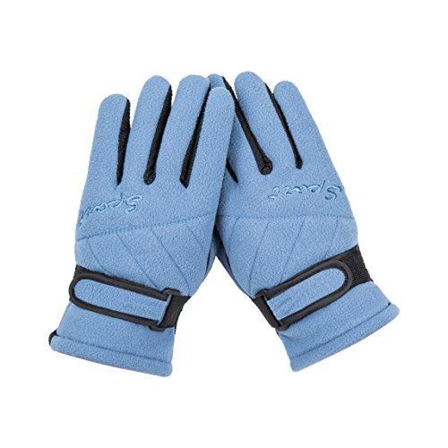 Blue Boy Girls Winter Gloves Thicken Fleece Windproof Outdoor Sports Ski Snow Travel Cycling