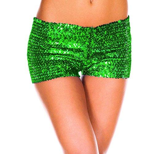 junkai Pantaloni caldi Pantaloncini da bottino per le signore - Pantaloni sexy con paillettes Pantaloncini da discoteca a vita bassa snellenti 5 colori S-XXL Verde
