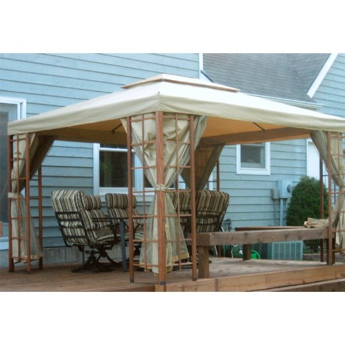 Garden Canopy Wooden (Garden Winds 12 x 10 Wooden Cabin House Gazebo Replacement Canopy Top Cover)