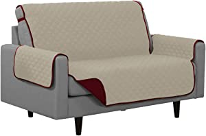 Linen Store Quilted Reversible Microfiber Pet Furniture Protector Cover with Strap, Burgundy/Beige, Loveseat