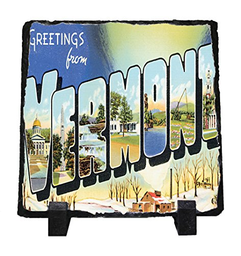 Greeting from Vermont Old Travel Poster Stone Slate Plaque Picture