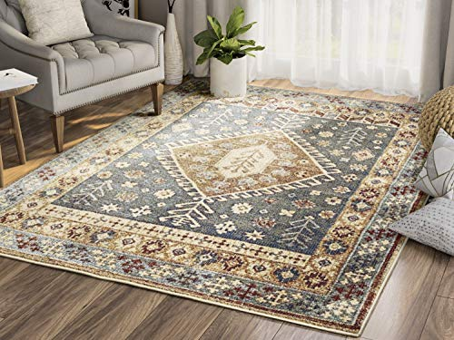 Abani Rugs Large Blue Grey Red Yellow Geometric Floral Area Rug Southwestern Vintage Style Accent, Mesa Collection | Turkish Made Superior Comfort & Construction | Stain Shed Resistant, 8 x 10 Feet