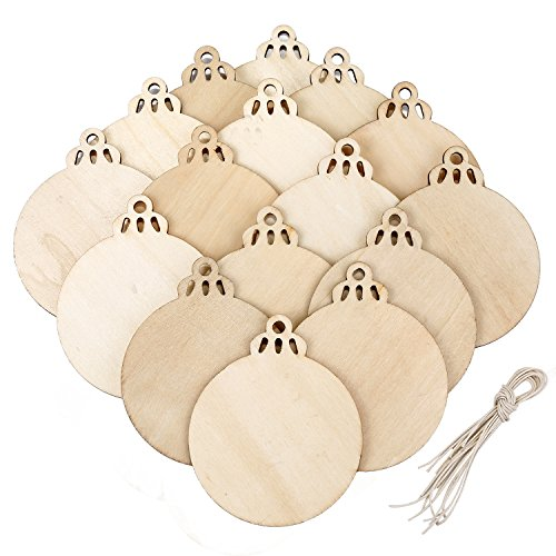 BBTO 20 Pieces Wooden Round Bauble Blank Hanging Wood Pieces Christmas Tree Pendants Ornaments for Holiday Decoration and DIY Craft Making (Decoration Bauble)